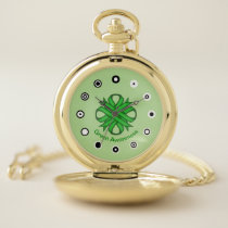 Green Clover Ribbon (Bf) by K Yoncich Pocket Watch