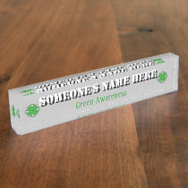 Green Clover Ribbon by Kenneth Yoncich Desk Name Plate