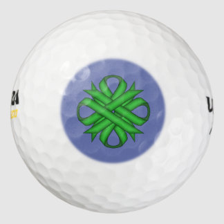 Green Clover Ribbon by Kenneth Yoncich Golf Balls