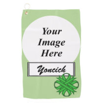 Green Clover Ribbon by Kenneth Yoncich Golf Towel