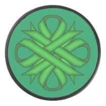 Green Clover Ribbon by Kenneth Yoncich Hockey Puck