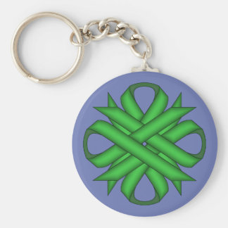 Green Clover Ribbon by Kenneth Yoncich Keychain