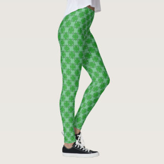 Green Clover Ribbon by Kenneth Yoncich Leggings