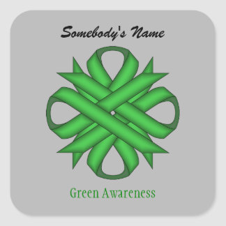 Green Clover Ribbon by Kenneth Yoncich Square Sticker