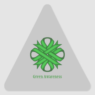 Green Clover Ribbon by Kenneth Yoncich Triangle Sticker