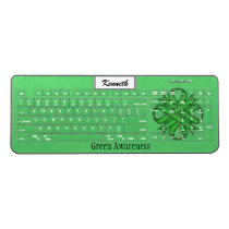 Green Clover Ribbon by Kenneth Yoncich Wireless Keyboard