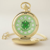 Green Clover Ribbon (Cf) by K Yoncich Pocket Watch