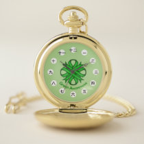 Green Clover Ribbon (CHN/JPf) by K Yoncich Pocket Watch