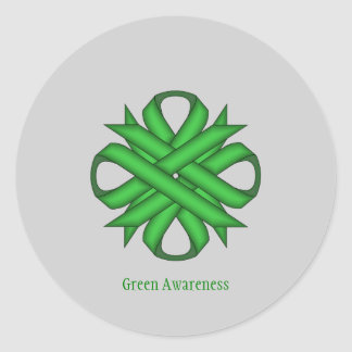Green Clover Ribbon Classic Round Sticker