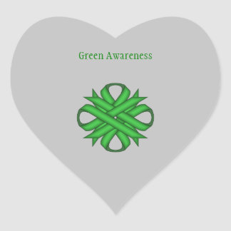 Green Clover Ribbon Heart Sticker
