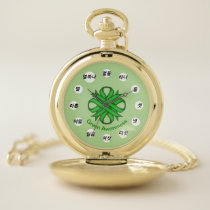 Green Clover Ribbon (Kf) by K Yoncich Pocket Watch