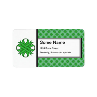 Green Clover Ribbon Label