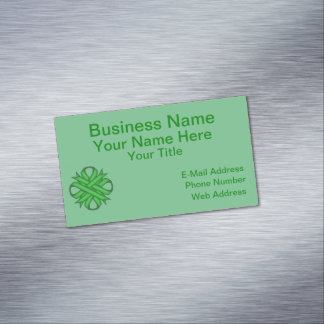 Green Clover Ribbon Magnetic Business Card