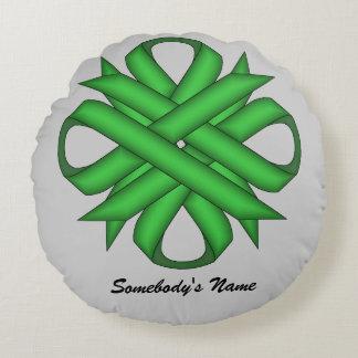 Green Clover Ribbon Round Pillow
