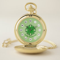 Green Clover Ribbon (Mf) by K Yoncich Pocket Watch