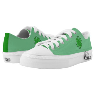 Green Clover Ribbon Printed Shoes