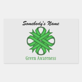 Green Clover Ribbon Rectangular Sticker