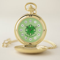Green Clover Ribbon (Rf) by K Yoncich Pocket Watch
