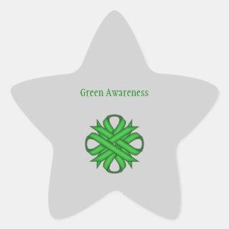 Green Clover Ribbon Star Sticker