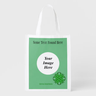 Green Clover Ribbon Template Grocery Bag