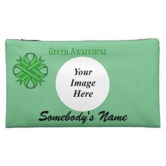 Green Clover Ribbon Template Makeup Bag