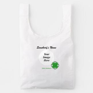 Green Clover Ribbon Template Reusable Bag