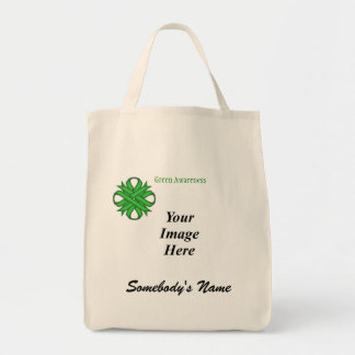 Green Clover Ribbon Template Tote Bag