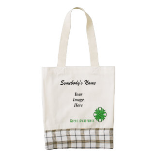 Green Clover Ribbon Template Zazzle HEART Tote Bag