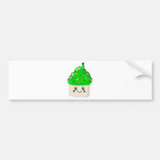 Green Clover St Patricks Day Cute Cupcake Bumper Sticker
