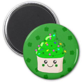 Green Clover St Patricks Day Cute Cupcake Magnet