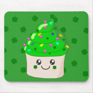 Green Clover St Patricks Day Cute Cupcake Mousepads