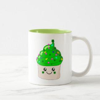 Green Clover St Patricks Day Cute Cupcake Two-Tone Coffee Mug