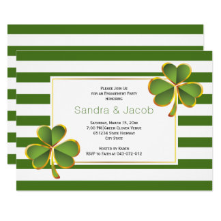 Green clover, stripes wedding engagement party card