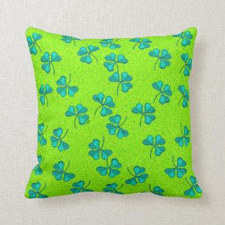 Green Clover Throw Pillow