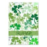 Green Clovers All Over RSVP Card Announcement
