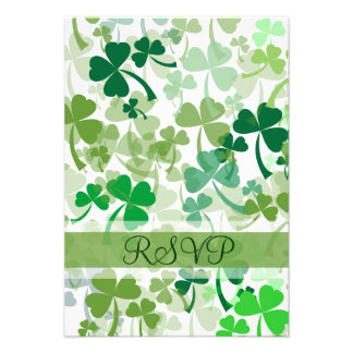 Green Clovers All Over RSVP Card