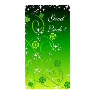 Green clovers and stars label