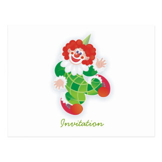 green clown postcard