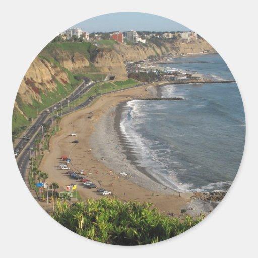 Green Coast beach in Lima-Peru Classic Round Sticker