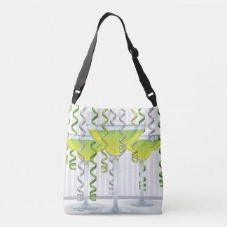 Green cocktail and ribbon crossbody bag