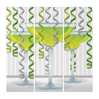 Green cocktail and ribbon triptych