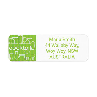 Green cocktail party label