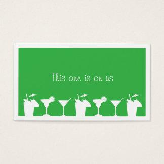 Green cocktail wedding event custom drink ticket
