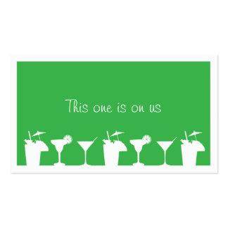 Green cocktail wedding event custom drink ticket business card