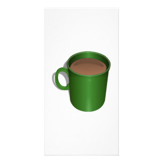 Green Coffee Cup Personalized Photo Card