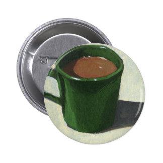 GREEN COFFEE MUG: IMPRESSIONIST PAINTING BUTTON