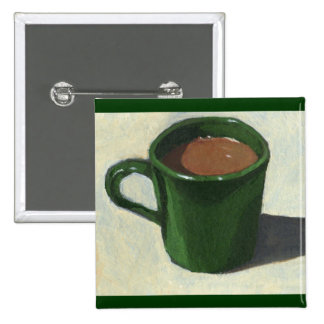 GREEN COFFEE MUG: IMPRESSIONIST PAINTING BUTTONS