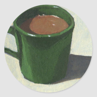 GREEN COFFEE MUG: IMPRESSIONIST PAINTING CLASSIC ROUND STICKER