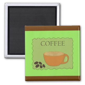 Green Coffee Sign with Beans Magnet