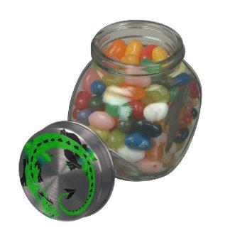 Green Coiled Dragon Glass Jars